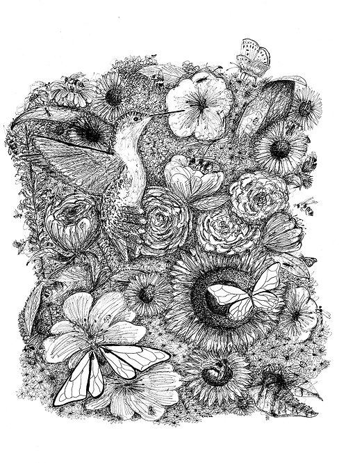 'The Pollinators' Black and White, signed A3 print