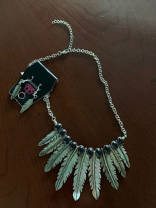 26. Feathered Necklace and Earring Set.j
