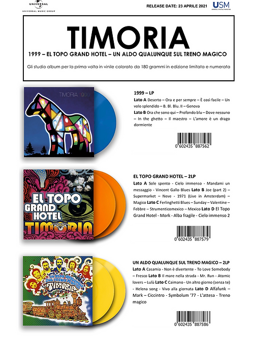 TIMORIA - RISTAMPE IN LP