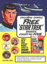 Placas coleccionables de Star trek en las cajas de Sugar Smacks de Kellogg's