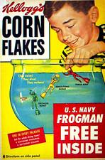 Hombres rana (juguetes acuáticos) en las cajas de Corn Flakes de Kellogg's