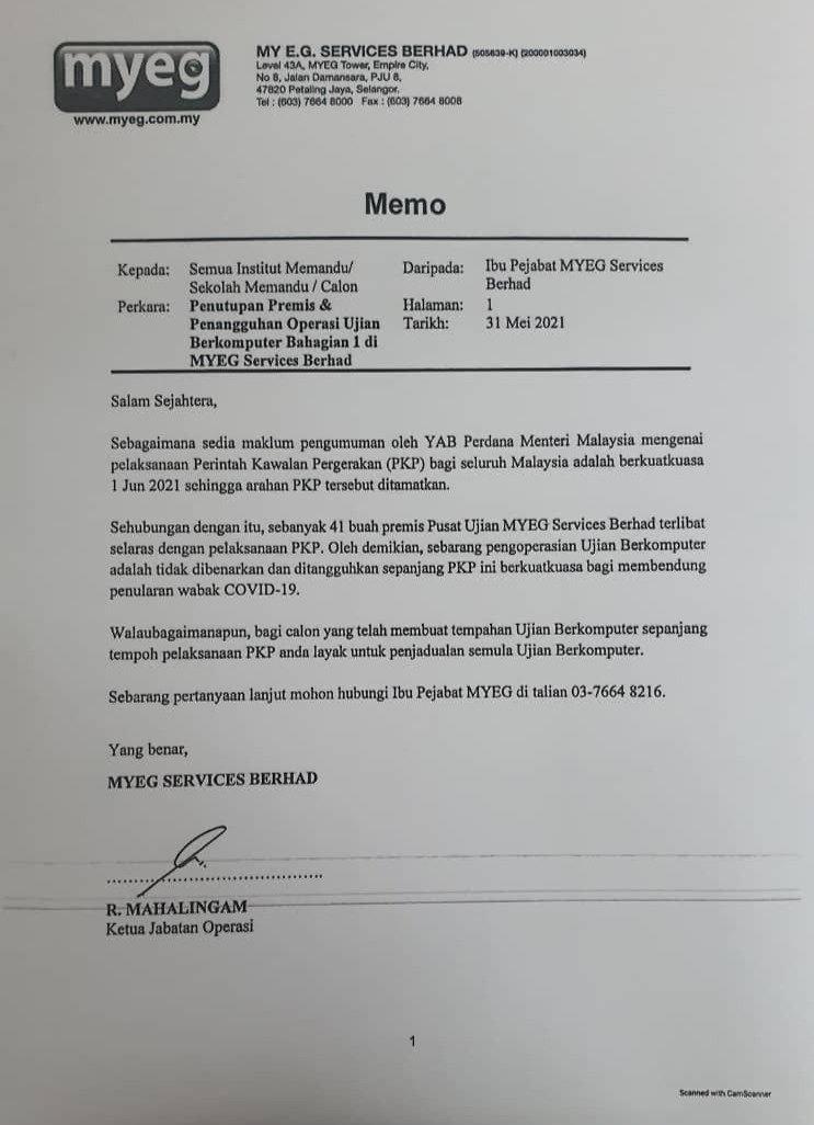 MyEg Memo Total Lockdown (June 2021)
