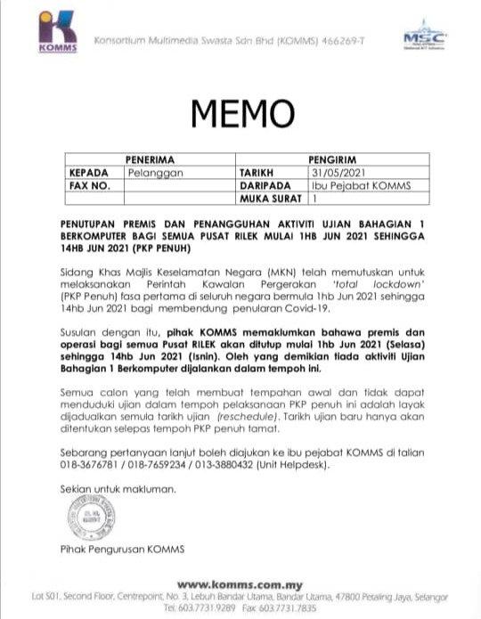 KOMMS Memo Total Lockdown (June 2021)