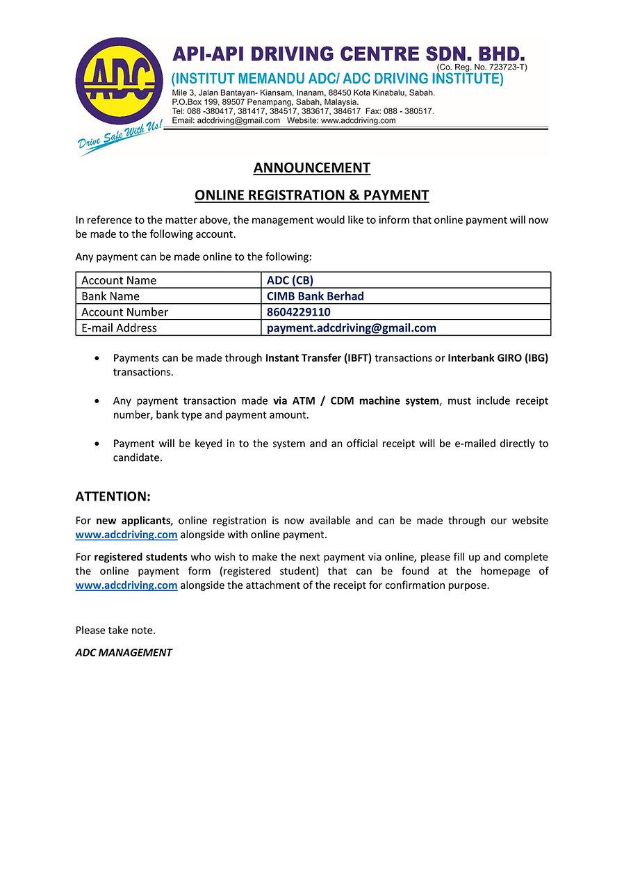 16.07.2020 Announcement New Online Reg &