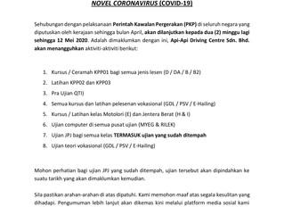 PENGUMUMAN PENTING NOVEL CORONAVIRUS (COVID-19)