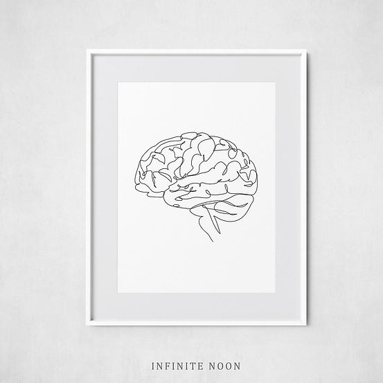 Anatomical Brain Drawing Print Anatomy B