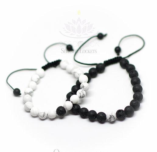 Howlite Set Lava Bead Diffusing Bracelets