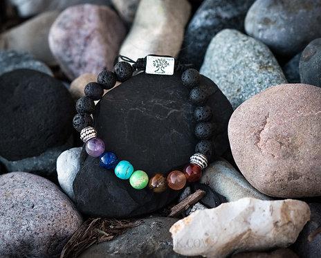 Tree of Life & Chakra Lava Bead Diffusing Bracelet