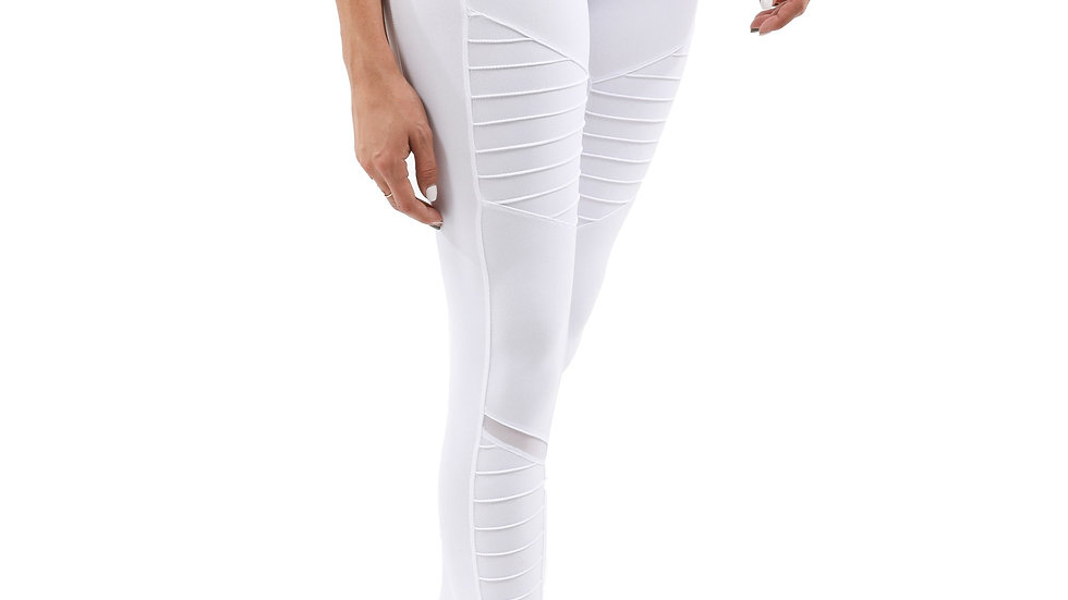Athletique Low-Waisted Ribbed Leggings With Hidden Pocket and Mesh Panels -White