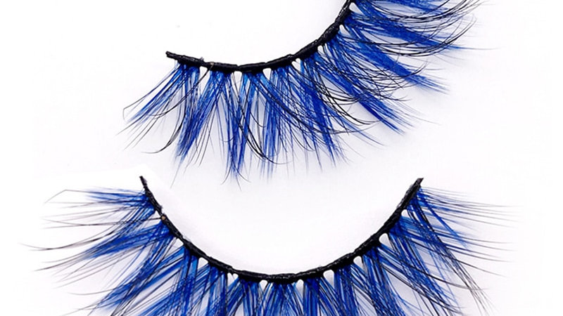 3D Dramatic Faux Mink Colored Eyelashes Natural Long Blue