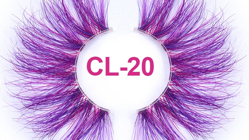25mm Long Purple and Pink Color Real Mink Cosmetic Fake Colored Eyelash