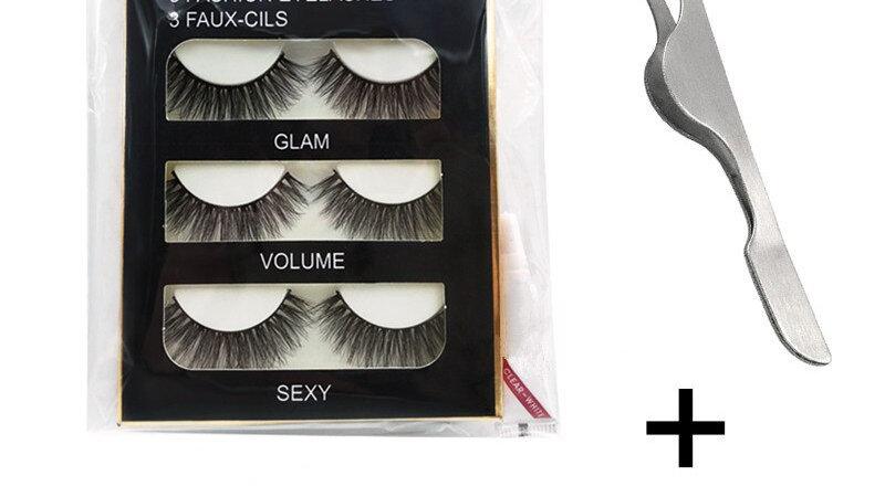 3 Pairs 3D Mink Eyelashes Kit