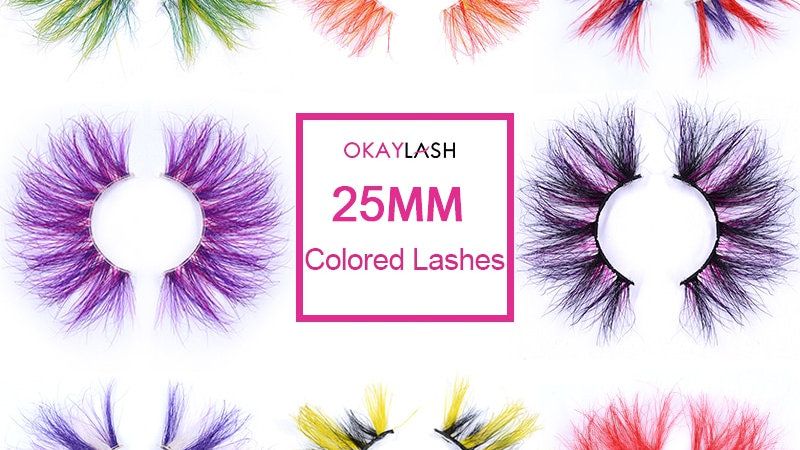 25mm Thick Colored Real Mink 3D Eyelashes Dramatic Super Long