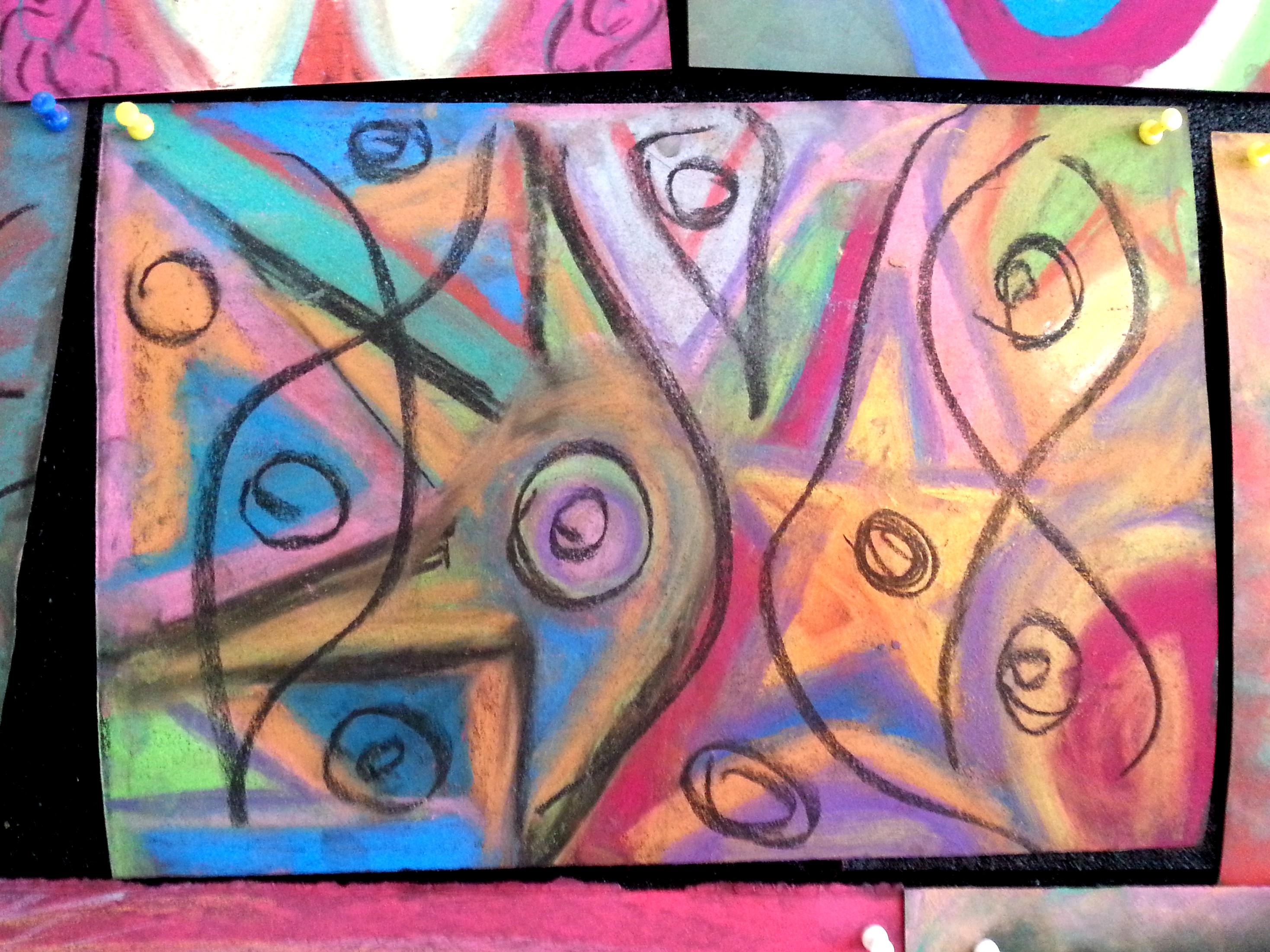 ציור אינטואיטיבי צבעוני עם עיגולים