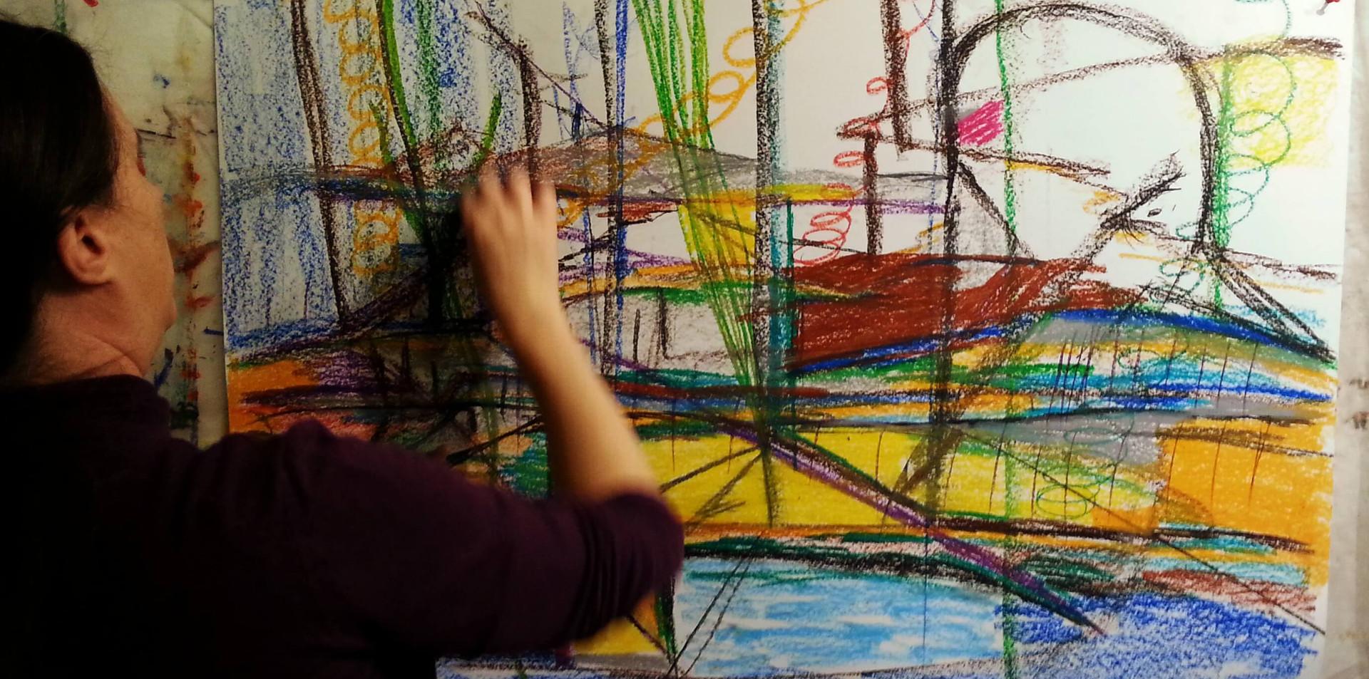 ציור אינטואיטיבי בפנדה בעמידה