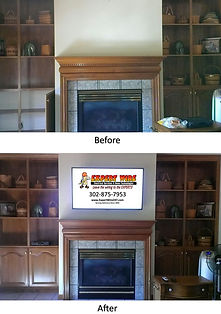 TV Mounted above fireplace (before & after)