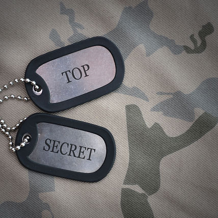 army blank, dog tag with text top secret