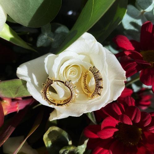 Crystal stud hoop earrings