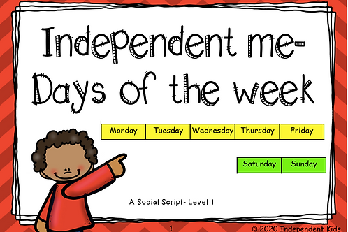 Independent Me Days of the Week Curriculum Pack (Physical version))