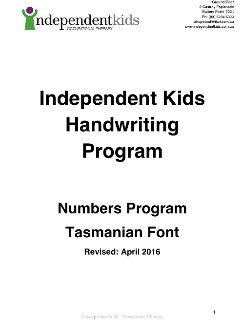Independent Kids Handwriting Program Numbers