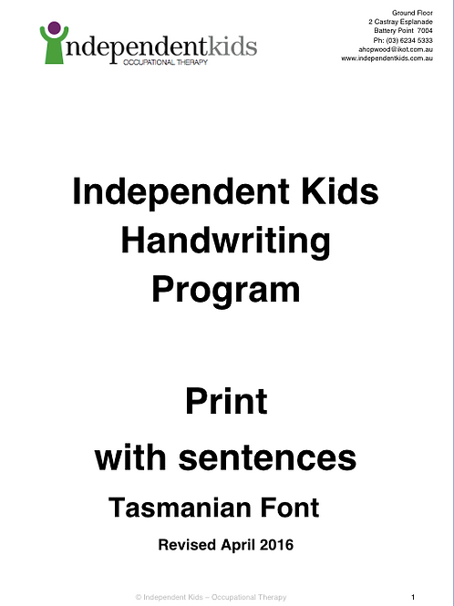 Independent Kids Handwriting Program Print with Sentences