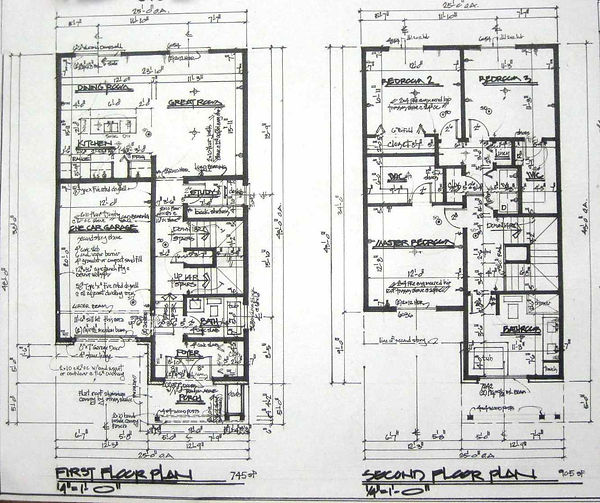 Thin First & Second Floor Plans Close Up