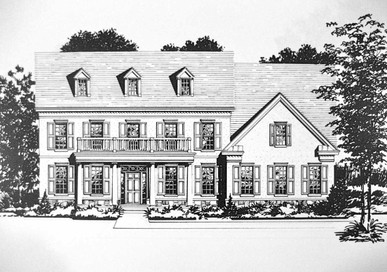 Residential Pen & Ink Jefferson Colonial