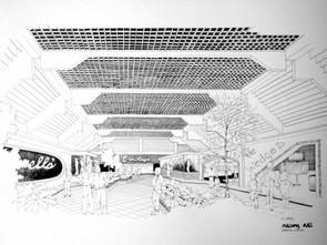 Interior Pen & Ink (Mall Design Sketch 1