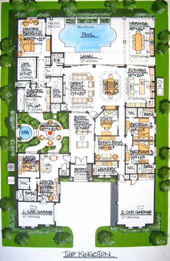 Rendered Floor Plan (Mediterranean Style