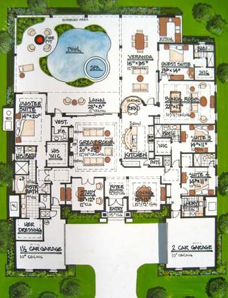 Rendered Floor Plan (Key West House:hand