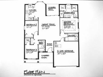 Residential Pen & Ink Floor Plan (hand d