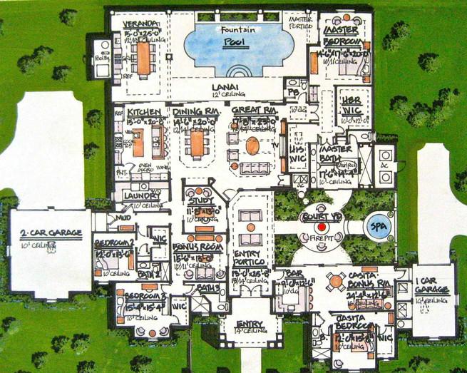 Rendered Floor Plan (West Indies Style:h