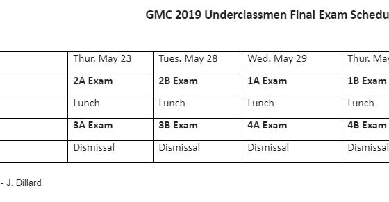 2019 Final Exam Schedule