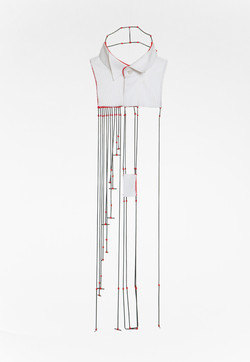 Mers - Necklace, Shirt parts, brass, silver cotton thread. 2013.