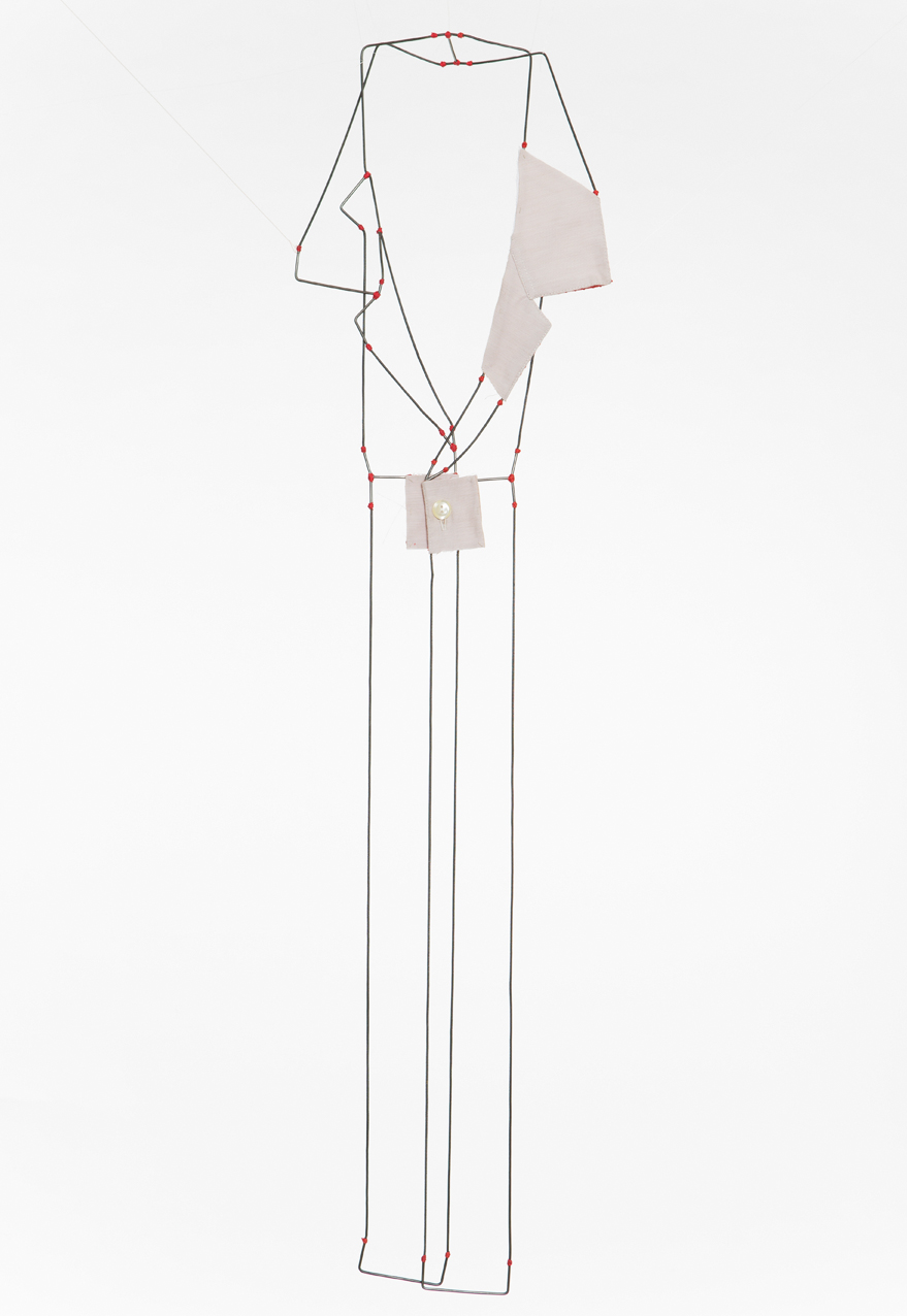 Rolad - Necklace, Shirt parts, brass, silver cotton thread. 2013.