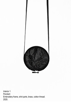 Interior 1 - Pendant, embroidery frame, shirt parts, brass, cotton thread, steel wire - 2020