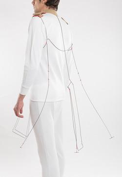 Kanelter - Body Piece, Shirt parts, brass, silver, cotton thread. 2013.