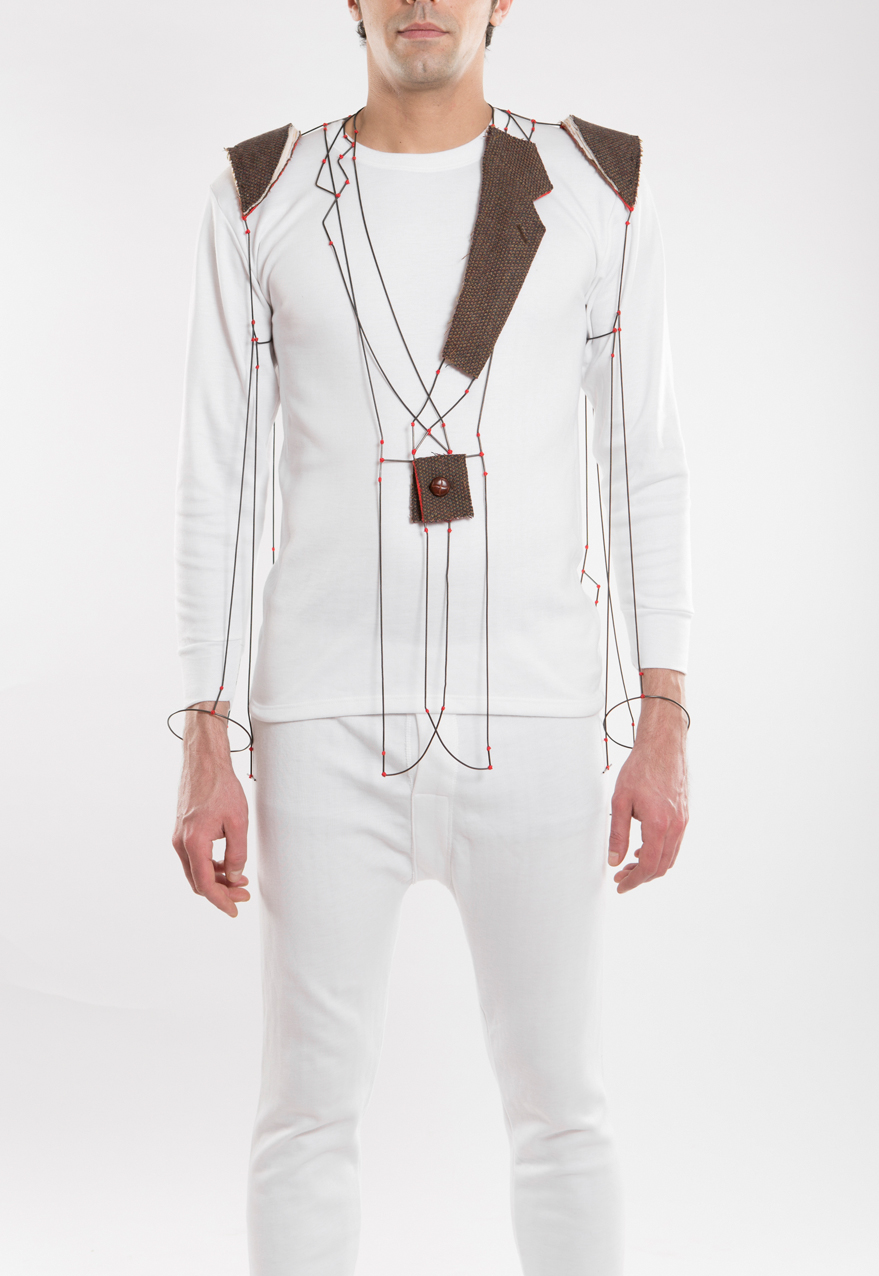Arpeola - Body Piece, Shirt parts, brass, silver, cotton thread. 2013.