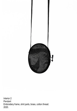 Interior 2 - Pendant, embroidery frame, shirt parts, brass, cotton thread, steel wire - 2020