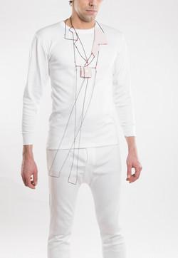 Rolad - Necklace, Shirt parts, brass, silver cotton thread. 2013.
