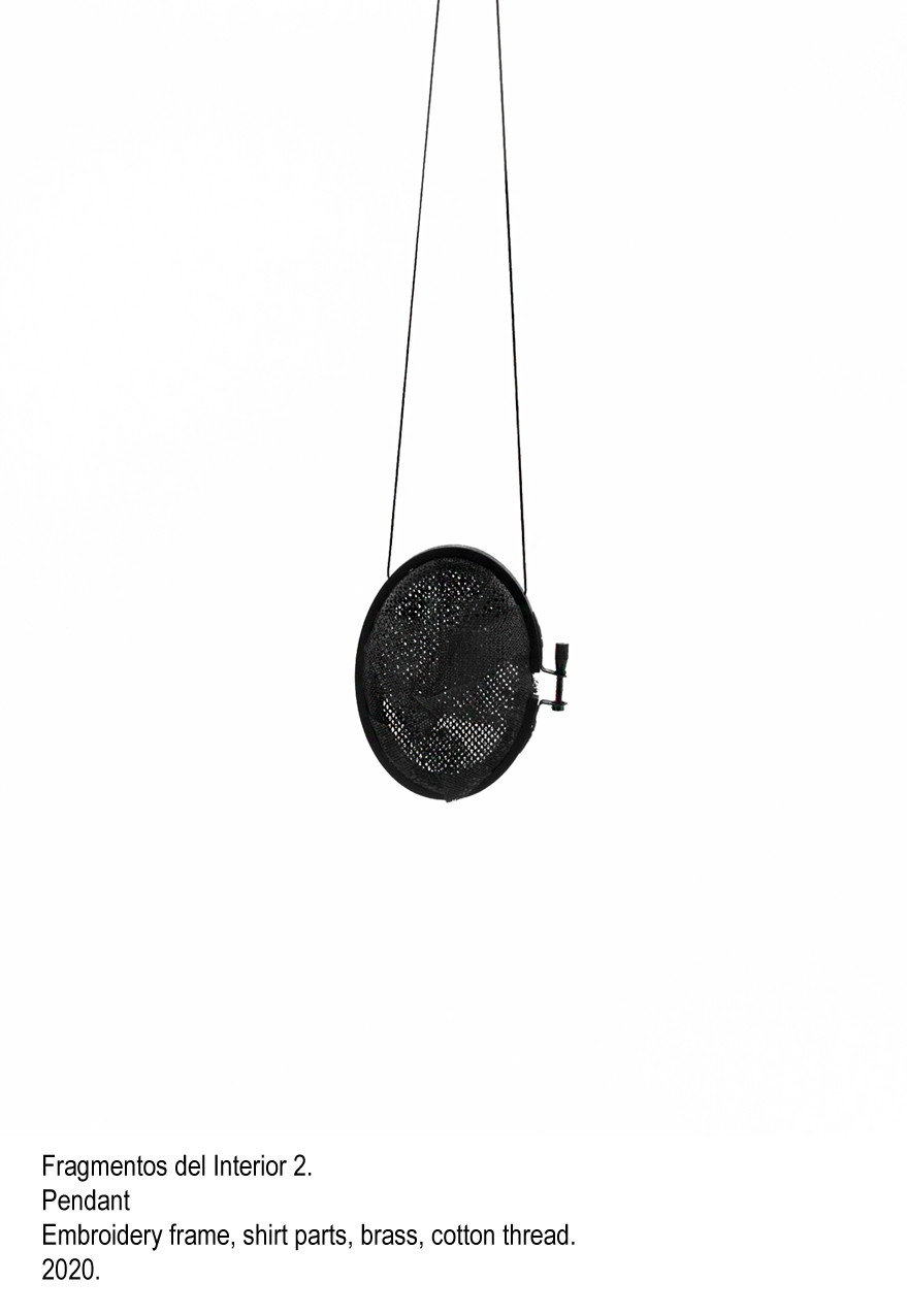 Fragmentos del Interior 2 - Pendant, embroidery frame, shirt parts, brass, cotton thread, steel wire