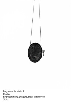 Fragmentos del Interior 2 - Pendant, embroidery frame, shirt parts, brass, cotton thread, steel wire