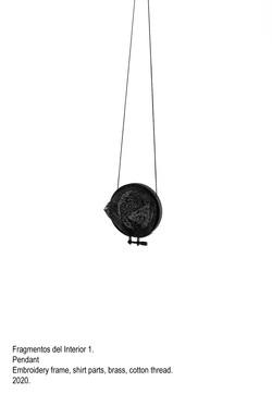 Fragmentos del Interior 1 - Pendant, embroidery frame, shirt parts, brass, cotton thread, steel wire