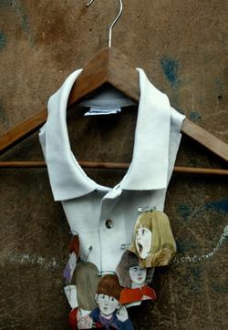Hijos - Necklace, Shirt parts, illustrations, cotton thread. 2008.