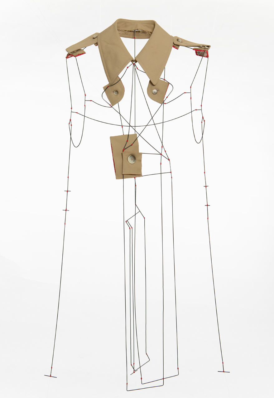 Kanelter - Body Piece, Shirt parts, brass, silver, cotton thread. 2013.