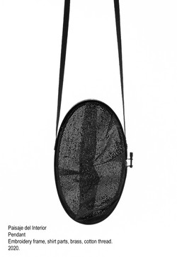 Paisaje del Interior - Pendant, embroidery frame, shirt parts, brass, cotton thread, steel wire - 20