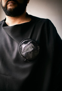 Interior 1 - Brooch, embroidery frame, shirt parts, brass, silver, cotton thread, steel wire - 2020