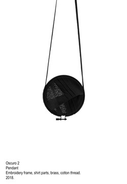 Oscuro 2 - Pendant, embroidery frame, shirt parts, brass, cotton thread, steel wire - 2018