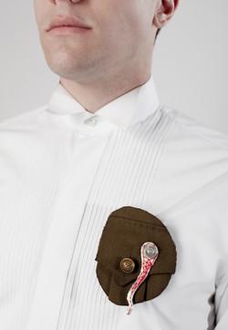 Amor a lo Bestia - Brooch Silver,bullet cartridge,jacket part,cotton thread, steel wire