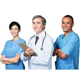 Doctores y enfermeras de caldiad